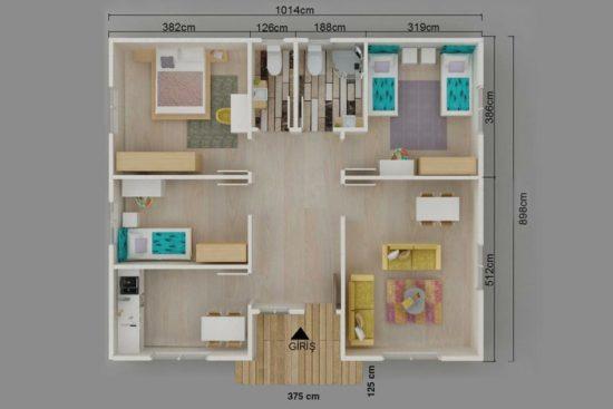 96m2-Prefabrik-Ev-Plan